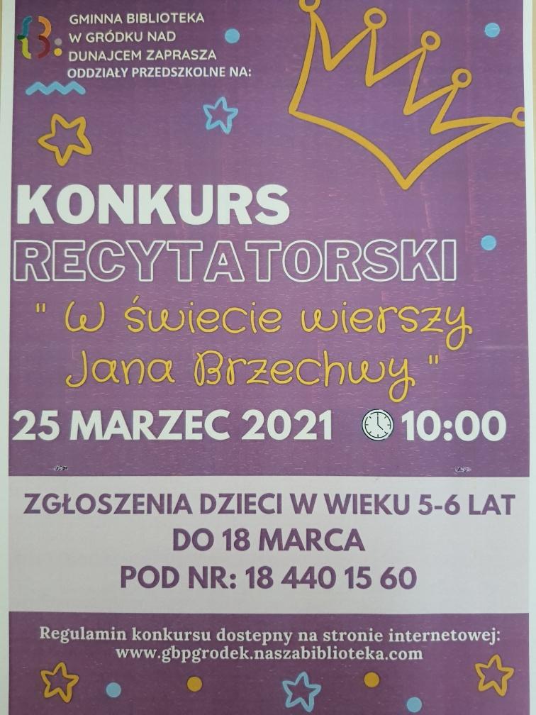"""Plakat w kolorze fioletowym , zawiera w treści zaproszenie na  gminny konkurs recytatorski  dla przedszkolaków-""""W świecie wierszy Jana Brzechwy""""."""
